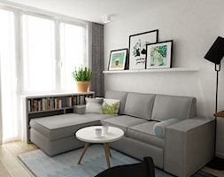 mieszkanie 38 m2 metamorfoza - Mały szary salon, styl skandynawski - zdjęcie od Grafika i Projekt architektura wnętrz - Homebook