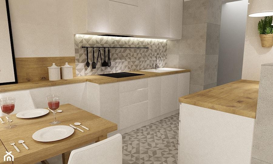 kabaty metamorfoza 60m2 - Średnia otwarta biała szara kuchnia dwurzędowa, styl skandynawski - zdjęcie od Grafika i Projekt architektura wnętrz
