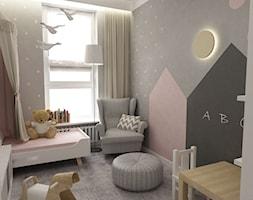 Mieszkanie 70m2 Ursynów - Mały szary pokój dziecka dla dziewczynki dla ucznia dla malucha, styl nowoczesny - zdjęcie od Grafika i Projekt architektura wnętrz