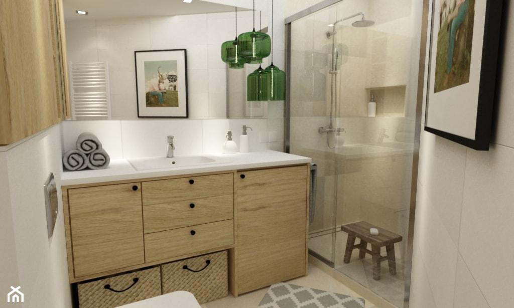 metamorfoza mieszkania 50 m2 w kamienicy - Mała beżowa łazienka w bloku bez okna, styl skandynawski - zdjęcie od Grafika i Projekt architektura wnętrz - Homebook