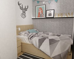 kawalerka do wynajęcia 35m2 - Mała biała sypialnia małżeńska, styl skandynawski - zdjęcie od Grafika i Projekt architektura wnętrz