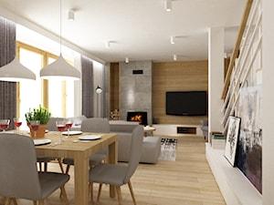 dom Białołęka 200m2 - Średni biały salon z jadalnią, styl nowoczesny - zdjęcie od Grafika i Projekt architektura wnętrz