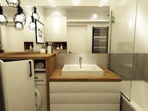 metamorfoza łazienki 4 m2 w trakcie realizacji - Mała biała szara łazienka, styl skandynawski - zdjęcie od Grafika i Projekt architektura wnętrz