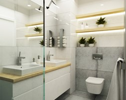 łazienki w stylu skandynawskim - Mała beżowa szara łazienka, styl skandynawski - zdjęcie od Grafika i Projekt architektura wnętrz - Homebook