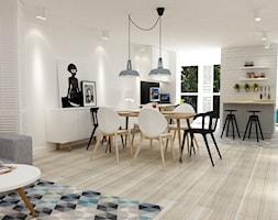 dom na dolnym mokotowie warszawa styl skandynawski - Średnia otwarta jadalnia w salonie, styl skandynawski - zdjęcie od Grafika i Projekt architektura wnętrz