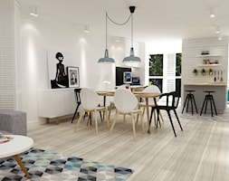 dom na dolnym mokotowie warszawa styl skandynawski - Średnia otwarta biała jadalnia w salonie, styl skandynawski - zdjęcie od Grafika i Projekt architektura wnętrz