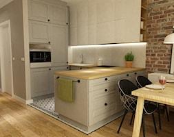 mieszkanie metamorfoza wola ok60m2 - Średnia biała kuchnia w kształcie litery u w aneksie z wyspą, styl skandynawski - zdjęcie od Grafika i Projekt architektura wnętrz