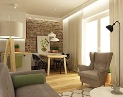 mieszkanie metamorfoza wola ok60m2 - Mała otwarta beżowa jadalnia w salonie, styl skandynawski - zdjęcie od Grafika i Projekt architektura wnętrz