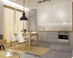 mieszkanie 75m2 słuzew - Średnia biała kuchnia w kształcie litery l w aneksie z oknem, styl skandynawski - zdjęcie od Grafika i Projekt architektura wnętrz