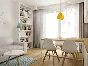 mieszkanie 45 m2 pod biuro/wynajem - Średni biały salon z bibiloteczką z jadalnią z tarasem / balkonem, styl skandynawski - zdjęcie od Grafika i Projekt architektura wnętrz