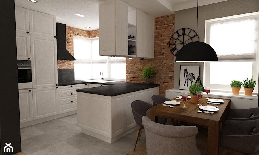 Dom w Stylu Neokolonialnym poznań - Średnia otwarta kuchnia w kształcie litery u z wyspą, styl ...