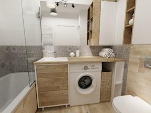 łazienki w stylu skandynawskim - Średnia biała szara łazienka w bloku bez okna, styl skandynawski - zdjęcie od Grafika i Projekt architektura wnętrz