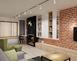 Zdalny Projekt domu w UK w trakcie realizacji - Duży biały czarny czerwony salon z bibiloteczką, styl industrialny - zdjęcie od Grafika i Projekt architektura wnętrz