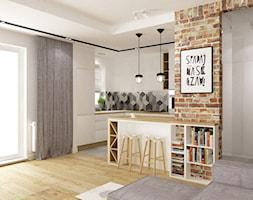 mieszkanie 50m2 w warszawie - Średnia otwarta biała kuchnia w kształcie litery g w aneksie z oknem, styl skandynawski - zdjęcie od Grafika i Projekt architektura wnętrz