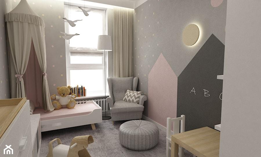 pokój dziecięcy - Średni szary pokój dziecka dla dziewczynki dla malucha dla nastolatka, styl skandynawski - zdjęcie od Grafika i Projekt architektura wnętrz