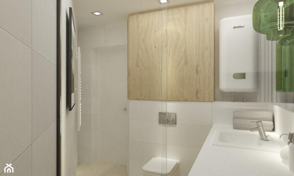 metamorfoza mieszkania 50 m2 w kamienicy - Mała biała łazienka na poddaszu w bloku w domu jednorodzinnym bez okna, styl skandynawski - zdjęcie od Grafika i Projekt architektura wnętrz - Homebook