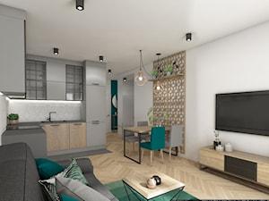 mieszkanie 40m2 lekko industrialne - Mała otwarta biała jadalnia w kuchni w salonie, styl industrialny - zdjęcie od Grafika i Projekt architektura wnętrz