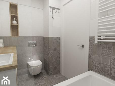 Aranżacje wnętrz - Łazienka: łazienki w stylu skandynawskim - Mała biała szara łazienka bez okna, styl nowoczesny - Grafika i Projekt architektura wnętrz. Przeglądaj, dodawaj i zapisuj najlepsze zdjęcia, pomysły i inspiracje designerskie. W bazie mamy już prawie milion fotografii!