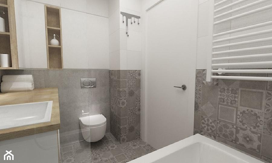 łazienki w stylu skandynawskim - Mała biała szara łazienka bez okna, styl nowoczesny - zdjęcie od Grafika i Projekt architektura wnętrz