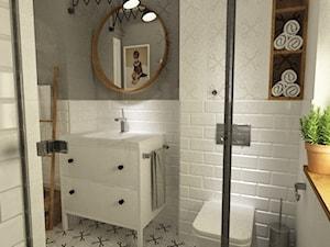 dom 120 m2 bemowo - Mała biała łazienka w bloku w domu jednorodzinnym z oknem, styl eklektyczny - zdjęcie od Grafika i Projekt architektura wnętrz