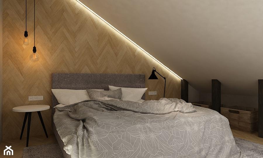 dom Warszawa wawer 170m2 - Średnia biała brązowa sypialnia małżeńska na poddaszu, styl skandynawski - zdjęcie od Grafika i Projekt architektura wnętrz