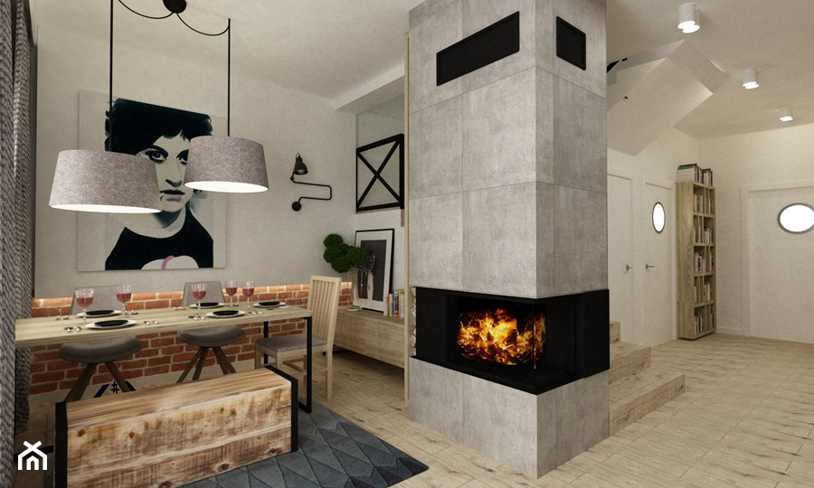 Aranżacje wnętrz - Jadalnia: Dom Falenica 150 m2 styl nowoczesny - Średnia otwarta szara jadalnia w salonie, styl nowoczesny - Grafika i Projekt architektura wnętrz. Przeglądaj, dodawaj i zapisuj najlepsze zdjęcia, pomysły i inspiracje designerskie. W bazie mamy już prawie milion fotografii!