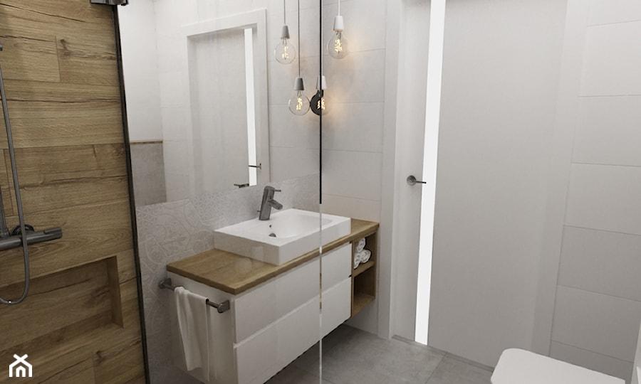 mieszkanie 50m2 w warszawie - Mała łazienka w bloku w domu jednorodzinnym bez okna, styl skandynawski - zdjęcie od Grafika i Projekt architektura wnętrz