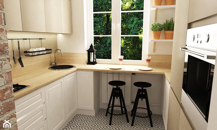 metamorfoza mieszkania 50 m2 w kamienicy  Mała otwarta   -> Mala Kuchnia Z Oknem Aranżacje