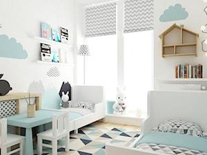 pokój dziecięcy - Mały biały pokój dziecka dla chłopca dla dziewczynki dla rodzeństwa dla ucznia dla malucha, styl skandynawski - zdjęcie od Grafika i Projekt architektura wnętrz