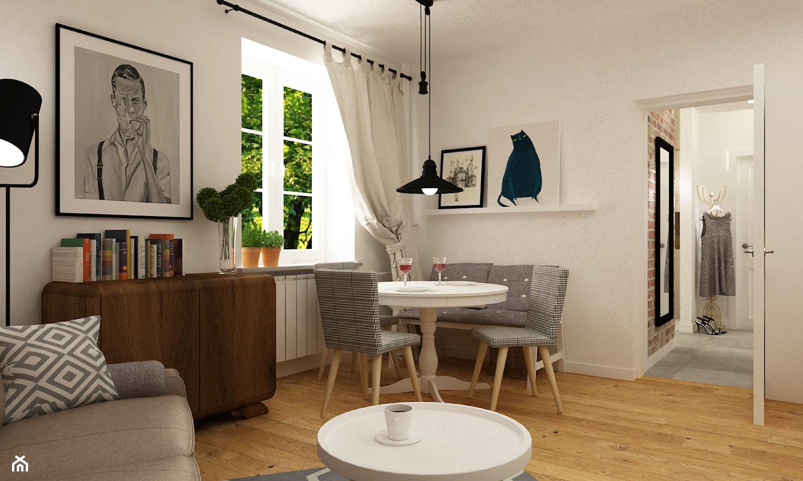 metamorfoza mieszkania 50 m2 w kamienicy - Średni biały salon z jadalnią, styl skandynawski - zdjęcie od Grafika i Projekt architektura wnętrz - Homebook