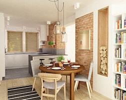 dom 120 m2 bemowo - Mała otwarta biała brązowa jadalnia w salonie, styl nowoczesny - zdjęcie od Grafika i Projekt architektura wnętrz