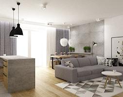 mieszkanie 80m2 metamorfoza - Mały szary biały salon z jadalnią, styl industrialny - zdjęcie od Grafika i Projekt architektura wnętrz