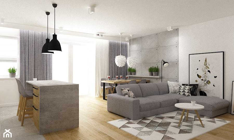 Aranżacje wnętrz - Salon: mieszkanie 80m2 metamorfoza - Mały szary biały salon z jadalnią, styl industrialny - Grafika i Projekt architektura wnętrz. Przeglądaj, dodawaj i zapisuj najlepsze zdjęcia, pomysły i inspiracje designerskie. W bazie mamy już prawie milion fotografii!