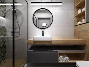 mieszkanie 90m2 z rowerem - Mała szara łazienka bez okna, styl nowoczesny - zdjęcie od Grafika i Projekt architektura wnętrz