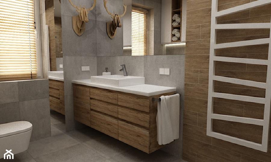 łazienki w stylu skandynawskim - Średnia łazienka w bloku w domu jednorodzinnym z oknem, styl skandynawski - zdjęcie od Grafika i Projekt architektura wnętrz