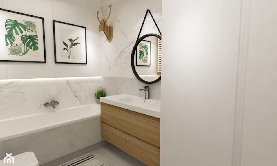 mieszkanie 70m2 w stylu urban jungle - Mała biała łazienka w bloku bez okna, styl skandynawski - zdjęcie od Grafika i Projekt architektura wnętrz