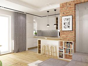 mieszkanie 50m2 w warszawie - Średnia otwarta szara kuchnia w kształcie litery g w aneksie z oknem, styl skandynawski - zdjęcie od Grafika i Projekt architektura wnętrz