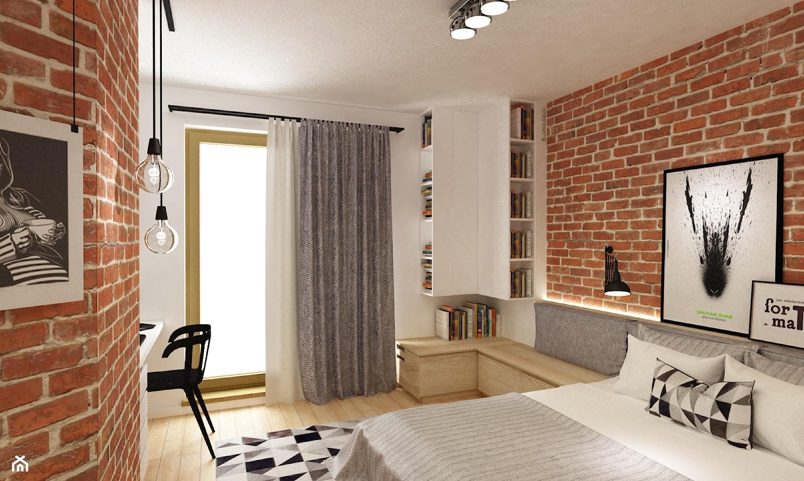 sypialnie nowoczesne - Średnia biała sypialnia małżeńska z balkonem / tarasem, styl skandynawski - zdjęcie od Grafika i Projekt architektura wnętrz - Homebook