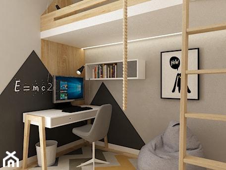 pokój dziecięcy - Mały szary czarny pokój dziecka dla chłopca dla dziewczynki dla ucznia dla nastolatka, styl skandynawski - zdjęcie od Grafika i Projekt architektura wnętrz