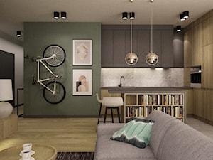 mieszkanie 90m2 z rowerem - Średnia otwarta beżowa szara kuchnia w kształcie litery l w aneksie z wyspą, styl nowoczesny - zdjęcie od Grafika i Projekt architektura wnętrz