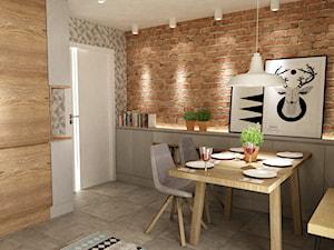metamorfoza kuchni 15m2 - Średnia otwarta beżowa brązowa kolorowa jadalnia w kuchni, styl nowoczesny - zdjęcie od Grafika i Projekt architektura wnętrz