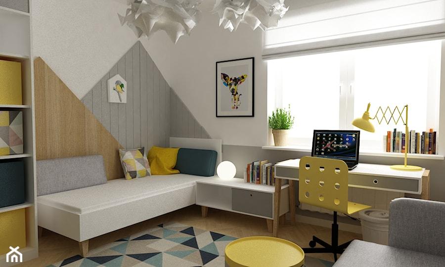 dom Warszawa wawer 170m2 - Średni biały szary pokój dziecka dla chłopca dla dziewczynki dla ucznia dla nastolatka, styl skandynawski - zdjęcie od Grafika i Projekt architektura wnętrz