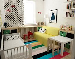 pokój dziecięcy - Mały biały czarny pokój dziecka dla chłopca dla dziewczynki dla malucha, styl skandynawski - zdjęcie od Grafika i Projekt architektura wnętrz