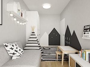 pokój dziecięcy - Średni szary pokój dziecka dla chłopca dla ucznia dla malucha, styl skandynawski - zdjęcie od Grafika i Projekt architektura wnętrz