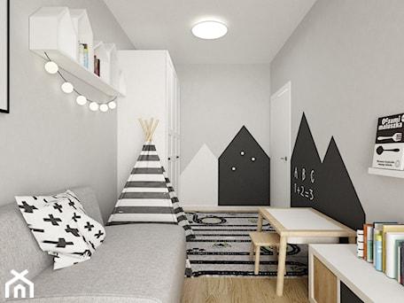 Aranżacje wnętrz - Pokój dziecka: pokój dziecięcy - Średni szary pokój dziecka dla chłopca dla ucznia dla malucha, styl skandynawski - Grafika i Projekt architektura wnętrz. Przeglądaj, dodawaj i zapisuj najlepsze zdjęcia, pomysły i inspiracje designerskie. W bazie mamy już prawie milion fotografii!