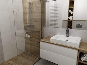 mieszkanie 50m2 w warszawie - Mała szara łazienka na poddaszu w bloku w domu jednorodzinnym bez okna, styl skandynawski - zdjęcie od Grafika i Projekt architektura wnętrz