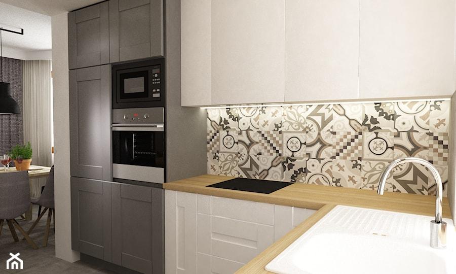 metamorfoza salonu i kuchni dom pod warszawą - Średnia duża otwarta kuchnia w kształcie litery l, styl skandynawski - zdjęcie od Grafika i Projekt architektura wnętrz