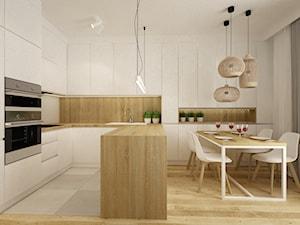 mieszkanie 61m2 - Średnia otwarta szara kuchnia w kształcie litery u z oknem, styl nowoczesny - zdjęcie od Grafika i Projekt architektura wnętrz
