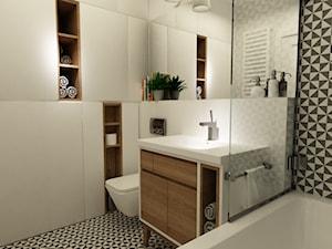 łazienki w stylu skandynawskim - Mała biała łazienka w bloku w domu jednorodzinnym bez okna, styl skandynawski - zdjęcie od Grafika i Projekt architektura wnętrz
