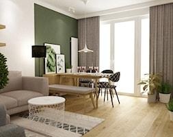 mieszkanie 70m2 w stylu urban jungle - Średnia otwarta biała zielona jadalnia w salonie, styl skand ... - zdjęcie od Grafika i Projekt architektura wnętrz - Homebook